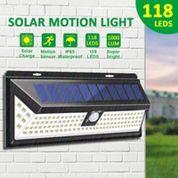 118LED 태양 광 정원 야외 울타리 벽 마운트 태양 정원 램프 방수 PIR 모션 센서 벽 빛 7W