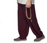 SummerSpring 7color cottonlinen meditasyon rahibe pantolonunu lay Shaolin keşiş olgunlaşanlar zen pantolon gri / sarı / mavi / yeşil / kırmızı
