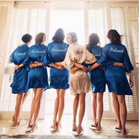 new bride bridesmaid robe with white black letters mother si...