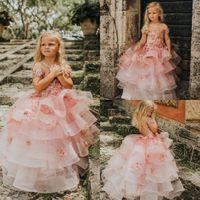 El cumpleaños rosado Vestidos Sheer niñas con encaje de flores grande del arco de espalda de manga larga vestido de niña para la boda por encargo