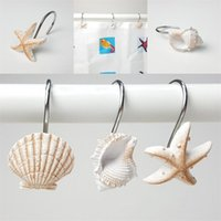 White Brown Hanging Hooks Resin Bath Curtain Hook Starfish Conch Shell Modeling Bathing Room Articles EEA434