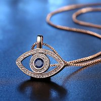 Luxury Blue Cubic Zirconia Evil Eye Necklace For Women Plated Silver Gold Crystal Rhinestone Pendant Necklaces Gift