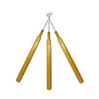 3 teile / los Holz Haken Ziehen Nadel Haarverlängerungen Werkzeug für Silikon Micro Perlen Häkeln