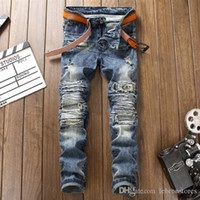 Designer pants mens fashion jeans European American style hi...