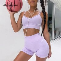 2020 Sommer-Sport-Set Frauen Zwei 2 Stück Lila Crop Top-Sport-BH Shorts Yoga Sportsuit Workout Outfit Thin Polyester Gym Set T200618
