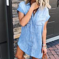 c556ac9dc4 Yeni Gelenler. Kadın Denim Mavi Yaz Elbise Yaz Rahat Kovboy Tasarımcı Tek  Göğüslü Elbiseler Giysileri. US  17.94   Parça