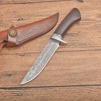 ¡En venta! Survival Cuchillo de caza recta 8CR13MOV Cuchillas de punta de gota de ébano cuchillas de cuchillas fijas con funda de cuero