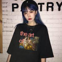 óleo engraçado fêmea do punk grande porte soltos tees Harajuku Vintage arte da pintura imprimir cartas de verão ocasional de manga curta casuais T-shirt DYDHGWC196