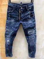 DSQ Phantom Tortue Classic Fashion Homme Jeans Hip Hop Rock Moto Mens Décontracté Design Décontracté Jeans Détressé Skinny Denim Biker DSQ Jeans 6960