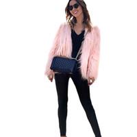 2019 New Fashion Autunno Inverno Donne Faux Fur Coat solido di colore a maniche lunghe Fluffy tuta sportiva giacca corta Peloso soprabito caldo