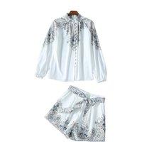 ZIM Spring Ultimo temperamento Stampa Camicia a maniche lunghe a maniche lunghe + Set di pantaloncini