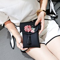 Women Applique Floral Mini Handbag Phone Bag Shoulder Bag Me...