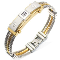 Three-Ring Wire Braided Hemp Rope Bracelet Gold-Studded Titanium Steel Men's Bracelet Bangle Bracelets Male Jewelry Gift