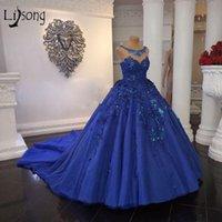 Vestido de novia azul real de Arabia Saudita de bola del vestido de boda de los vestidos vintgae moldeada cristalina más el tamaño de vestido de quinceañera 3D Flores