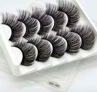 3D hand- made synthetic false eyelashes 5 pairs of soft and c...