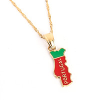 Portugal Map Pendant Necklace Flag Gold Color Jewelry Portug...