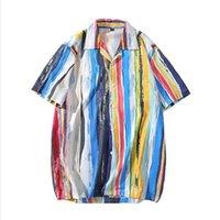 Los hombres de la camisa hawaiana Pintura raya del arco iris 2020 Camisa de Hip Hop de Calle Harajuku Beach Camisa de Hip Hop camisas de manga corta de verano