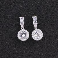 Orecchini classici rotondi zirconi cubici per le donne sposa argento colore scintillante cristalli moda goccia orecchini orecchini da sposa orecchini gioielli