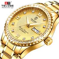 TEVISE Luxo data aço Ouro Men Quartz Relógio inoxidável relógio de pulso à prova d'água relógio de negócios de moda masculina