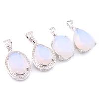 Luckyshine Moda Exquisita joyería de lágrimas con forma de lágrima Blanco Piedra de luna Gemas Silver magnífico Vintage Colgantes Collar Joyería
