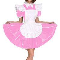 Plus Size Exotic Maid Cosplay PVC Uniform Frauen im Wet-Look Short Puff Hülsen-Minikleid Französisch Maid Kostüm Lolita Kittelschürze