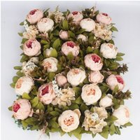 40 * 60 cm Lusso personalizza la seta peonia fiore artificiale pannello murale base erba fai da te fondale wedding arch decor flower wall art 2 pz