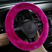 Cubierta de la volante de la lana australiana Cubierta de la rueda de invierno Mujeres Real Cálido Cálido Apple Auto Accesorios de Navidad Tamaño libre