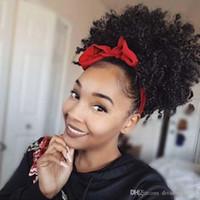 Estilo quente sopro Afro rabo de cavalo curto Kinky Curly bolos cabelo barato Chignon clipe peruca em Bun para as mulheres negras