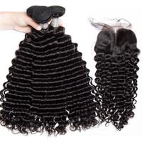 أعلى درجة 100 ٪ غير المجهزة الماليزية عذراء الشعر موجة عميقة حزم الشعر مع إغلاق الدانتيل 4 * 4 يمكن مصبوغ وتبييض شعر الإنسان