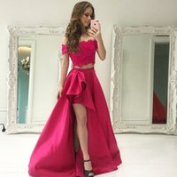 Hot Pink Asymmetrical Two Pieces Prom Dresses off the should...