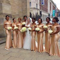 Africain hors l'épaule sirène demoiselles d'honneur robes 2018 nouvelle longueur de plancher d'or sans manches Sexy Black Girl mariage robes de bal robe