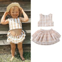 2020 Summer gemelos mono del bebé recién nacido niña de ropa tela escocesa volante cuerpo del mono cultivos Tops volante de la falda del tutú traje 0-18M