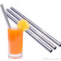Dayanıklı Paslanmaz Çelik Düz Straw Yeniden kullanılabilir temiz Payet Metal 6mm Bubble Tea Samanların için Straw Kolay İçme