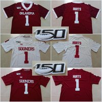 Jumpman 150 Patch # 1 Jalen Hurts Oklahoma Sooners # 1 Kyler Murray # 6 Baker Mayfield 2019 di nuovo stile college cucita maglie può mescolare l'ordine