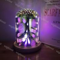 Luzes noturnas 3d starburst fogos de artifício coração coração multicolor mugable vidro madeira base lâmpada de presente iluminação interna para home quarto decorativo DHL