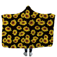 Sunflower Hooded Blanket Leopard Printed Fleece Blankets Adu...