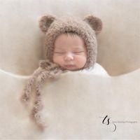 Медвежонок Bonnet Новорожденного медведь Bonnet Новорожденного Hat Фотография Реквизит Крытый DIY Photo Studio аксессуары