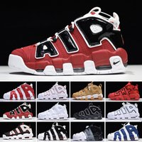 Nike Air More Uptempo Plus Uptempo New 96 QS Olympic Varsity Maroon Hommes Chaussures de basket-ball 3M Scottie Pippen Formateurs Chicago sport Chaussures de sport Taille 40-47
