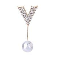 Unisex simulato perla strass stella fiore lettera v spilla spilla tuta bastone spille accessori festa lotto 12 pezzi