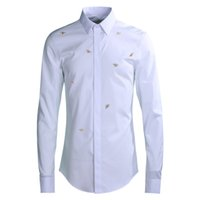 Gold Bee Stickerei Shirt Männer Markenqualität Business Male Slim Shirts Umlegekragen Volle Hülse Plus Größe M-4xl Camisas