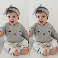 Baby Boy ресницы одежда осень 2017 Bebes дети новорожденных повседневная с длинным рукавом футболки топы + длинные брюки наряды девочка одежда наборы