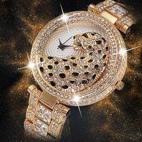 Miss Fox donne orologio al quarzo moda Bling casuale signore orologio femminile quarzo orologio d'oro di cristallo diamante leopardo per le donne orologio T7190617