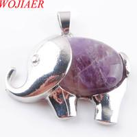 Wojiare carino elefante animale ciondoli collana naturale ametista gemma pietra energia per monili per bambini chakra DN3625
