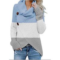 Мода женские дизайнерские свитеры с длинным рукавом шеи женские женские одежда полосатая печать женские цвета подходящие свитера