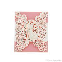 Invitaciones de la boda del corte del láser OEM en 41 colores Hollow personalizado con las flores de los amantes de la invitación de boda personalizada # BW-I0305