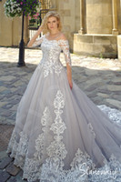 Silver and Ivory Wedding Dresses With Long Sleeves 2020 New ...