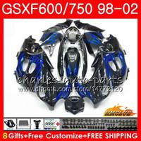 Corps pour Suzuki Katana GSXF 750 600 GSXF600 98 99 00 01 02 2HC.68 GSX750F GSX600F GSXF750 Blue Flames 1998 1999 2000 2001 Kit de carénage 2002
