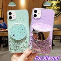 반짝이 별이 빛나는 거울 휴대 전화 케이스 Xiaomi Mi 9 10 CC9E CC9 TPU 커버 Redmi 노트 9S 8 7 6 5 8T 9Pro Max K20 K30 Pro