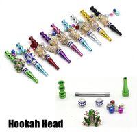 Rebuitable Handmade Hookah Head Collection Красочный металлический мундштук подвеска подвеска арабская шиша съемный фильтр черепа некурящий вап