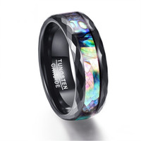 Men' s Tungsten Carbide Ring Color Abalone 8 Mm Black Do...